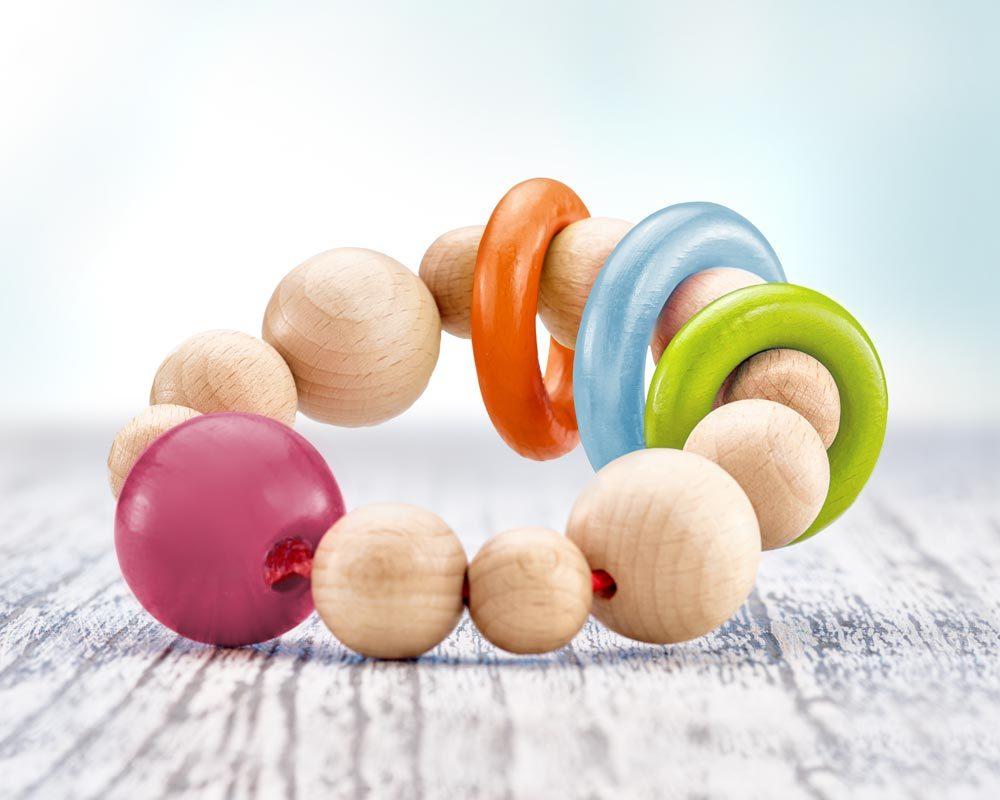 hochet bois perles