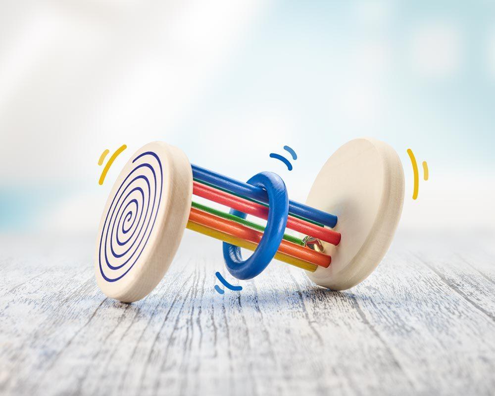 Holz Rollspielzeug visuell Spiraleffekt