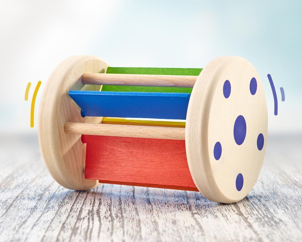 jouet roulant bois cliquetis rollmi