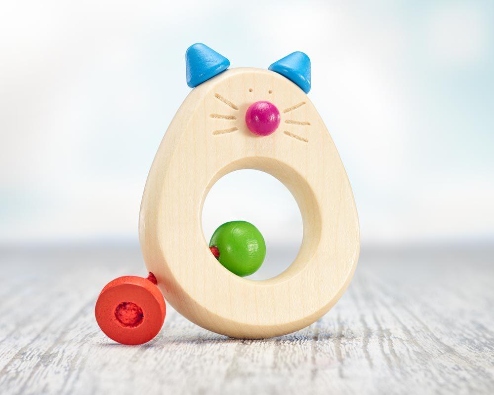 hochet bois anneau dentition chat