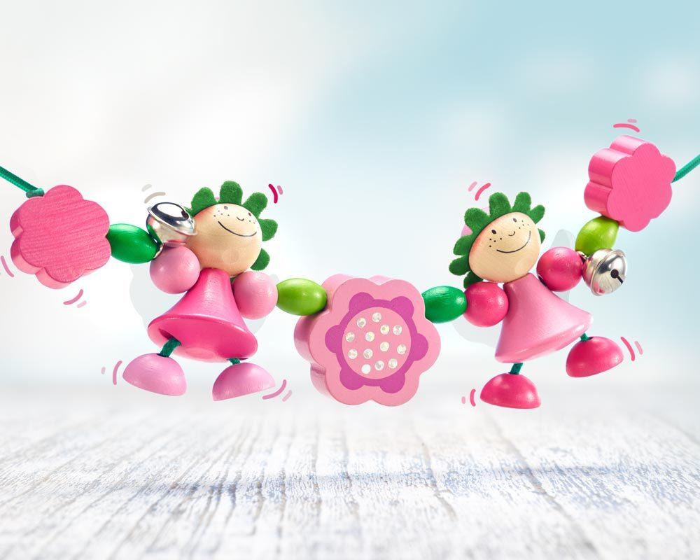 chaine landau bois fees fleurs roses