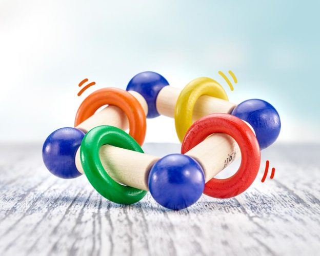 hochet bois anneau dentition rectangulaire anneau
