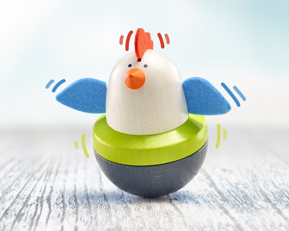 toupie bois bebe poulet