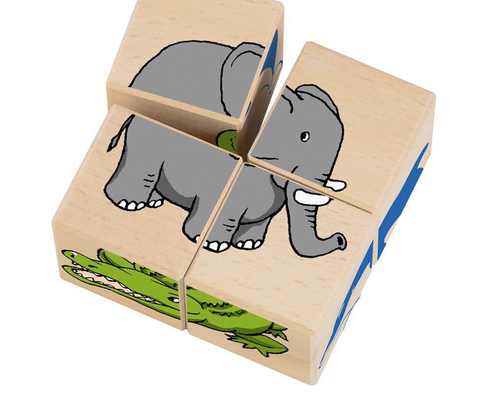 bois cube illustre animaux du zoo