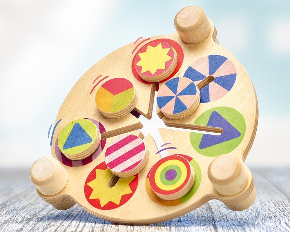bois poussoir coloré jeu mobile