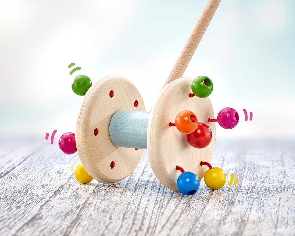 bois jouet a pousser roller perles bois