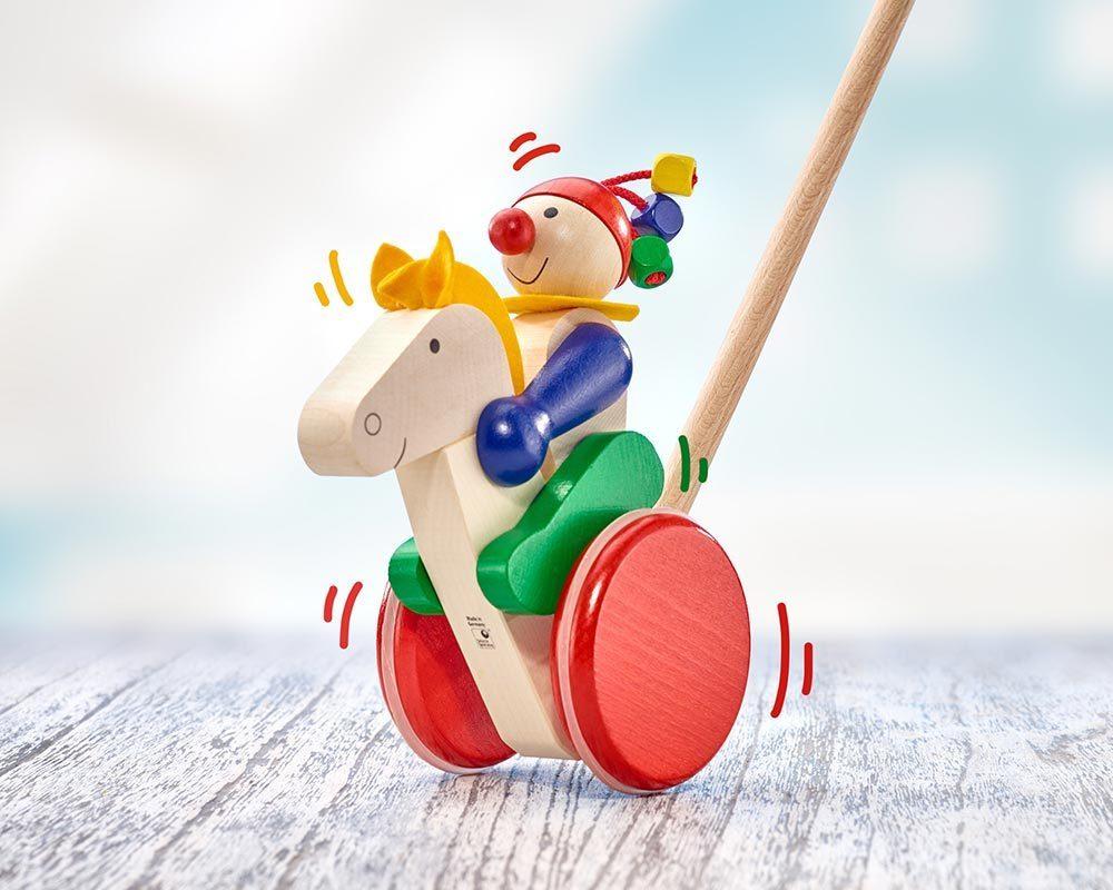 bois jouet a pousser cavalier cheval trotto