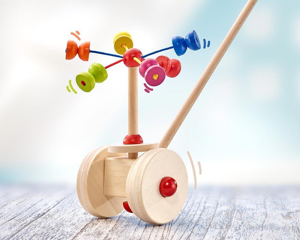bois jouet a pousser karussel boules