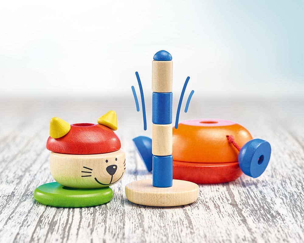 Chat à empiler Karlo jouets bois Selecta