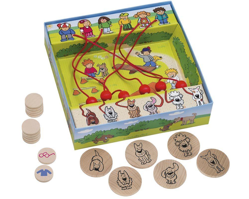 bois labyrinthe jeu chiens