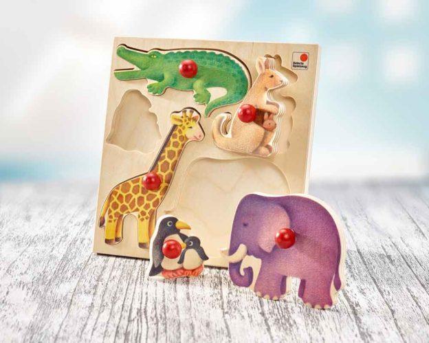 bois encastrement puzzle bebe zoo