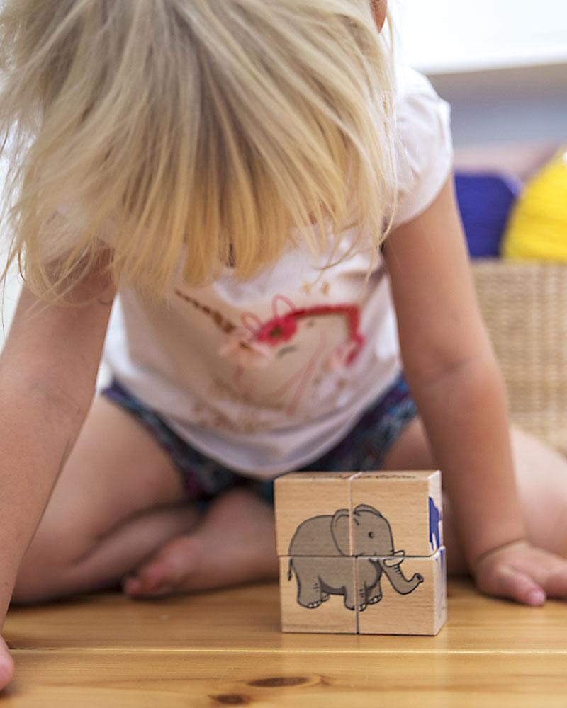 Un enfant avec un cube d'images en bois de Selecta
