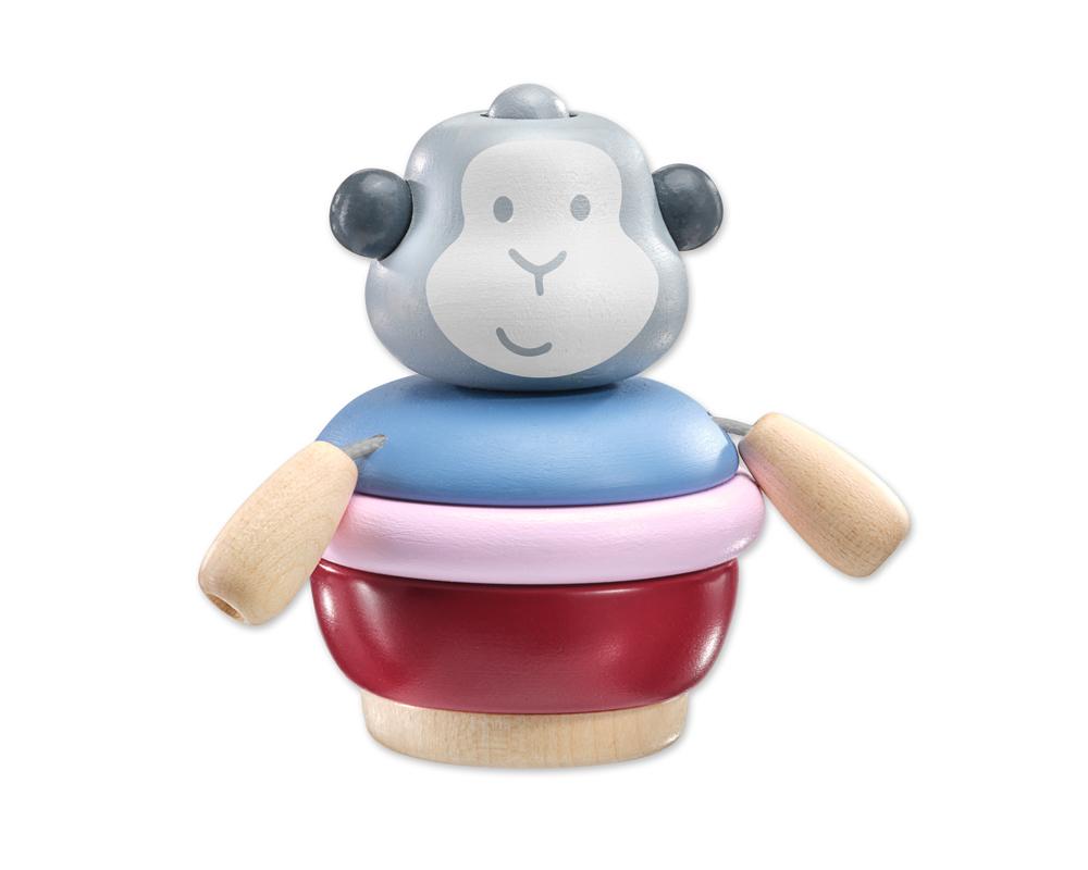 singe a empiler jouets en bois
