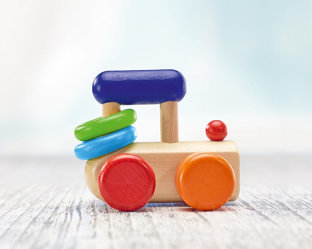 jouet roulant bois hochet locomotive